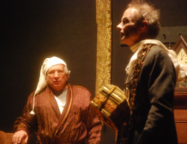 Scrooge in fear of Jacob Marley